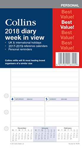 Collins PR2700-18 Personal Organiser Refill 2018 Week to View Diary