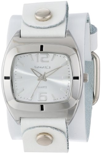 Nemesis Women's WGB090S Retro Collection Silver on White Leather Band Watch
