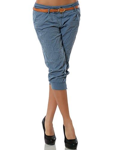 Damen Chino Capri Hose inkl. Gürtel (weitere Farben) No 13235, Größe:L / 40;Farbe:Pastellblau