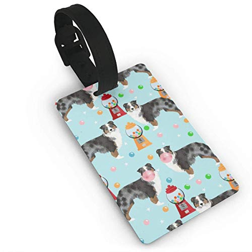 VAICR Kofferanhänger,Australian Shepherd Bubble Gum Cute Dogs and Candy Design Travel Luggage Tags for Baggage Bags/Suitcases Name ID Labels for Travel