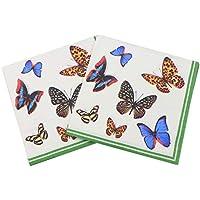 Gysad Servilletas 2 paquetes (20 hojas/paquete) Patrón de mariposa Servilletas papel Pulpa de madera nativa Servilletas para decoupage Seguridad natural Servilletas decoupage