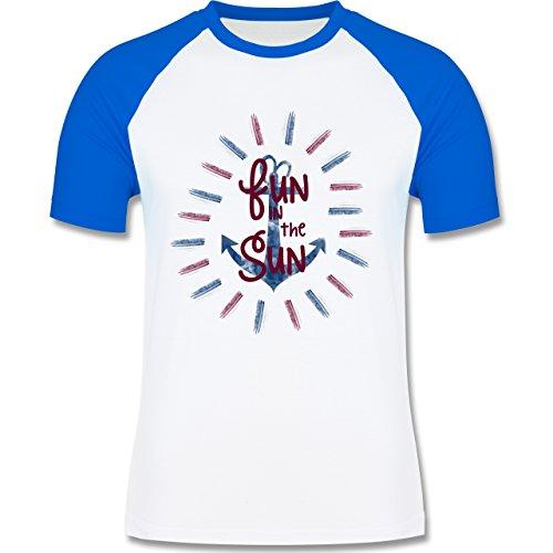 Statement Shirts - Fun in the sun - zweifarbiges Baseballshirt für Männer Weiß/Royalblau
