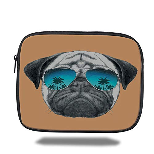 Laptop Sleeve Case,Pug,Dog with Reflecting Aviators Palm Trees Tropical Environment Cool Pet Animal Decorative,Black Orange Blue,Tablet Bag for Ipad air 2/3/4/mini 9.7 inch