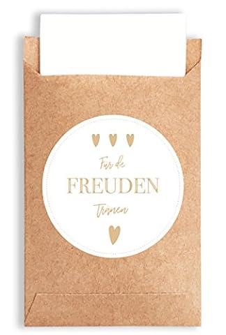 40 Freudentränen Geschenktüten & Sticker | vintage Aufkleber und Mini Papiertüten | wunderbare Flachbeutel | Geschenk-Verpackung für Hochzeit Taschentücher | Mitgebsel | Schmuck | umweltfreundlich