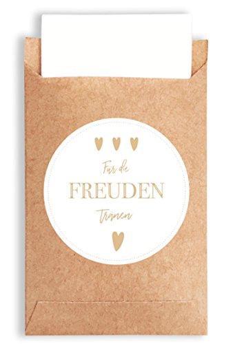 50 Freudentränen Geschenktüten & Sticker | vintage Aufkleber und Mini Papiertüten | wunderbare Flachbeutel | Geschenk-Verpackung für Hochzeit Taschentücher | Mitgebsel | Schmuck | umweltfreundlich