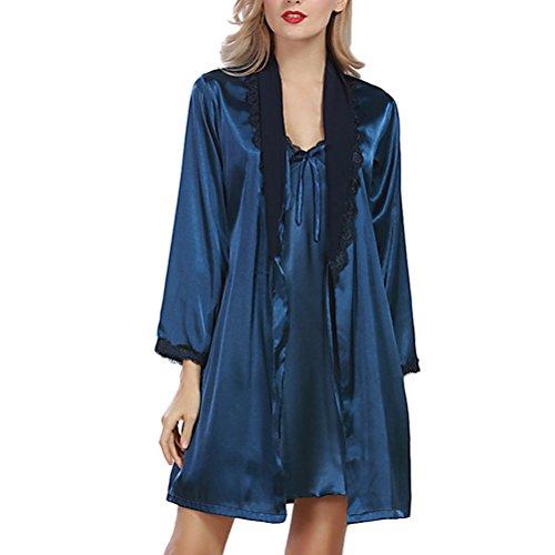Zhhlaixing Ladies Silk Satin Pajama Set Lace Pyjama Set Luxury Silk Sleepwear Nightgown Dress Woman Bathrobe Pajamas 2097# Dark Blue