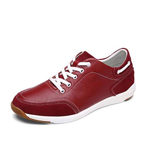 Uomo traspirante Tempo libero Scarpe di pelle Moda Ballerine Scarpe sportive Scarpe casual Leggero Confortevole euro DIMENSIONE 39-44 Red