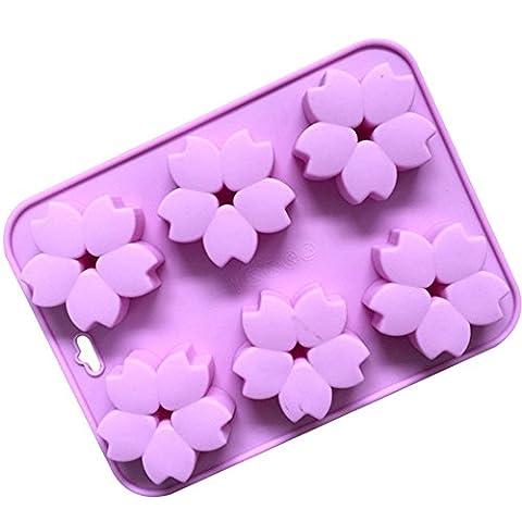 Freessom Moule en Silicone Gâteaux En Forme De Fleur Sakura 6 Cellules Carre Mignon Original Pour Chocolate Cake Cupcake Soap Biscuit Cookies Patisseire Dessert Enfant DIY Rose