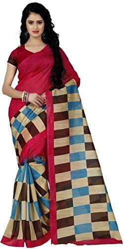 Being Banarasi Women's Bhagalpuri Cotton Silk Box Printed Saree with Blouse Piece(BB_Jolly_Pink)