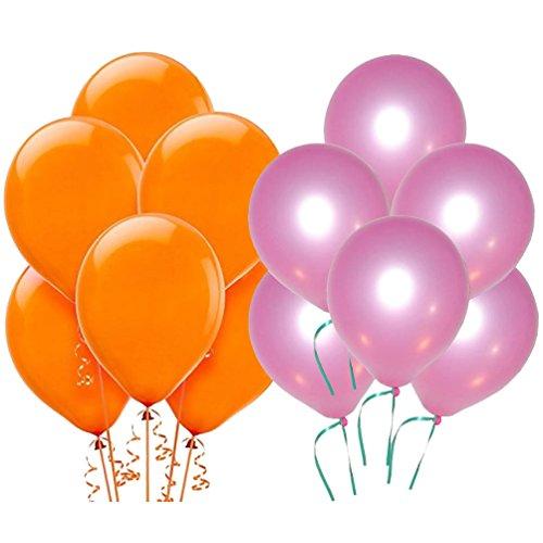 Solid Metallic Balloons (Orange, Pink Pack of 100) FREE Banner