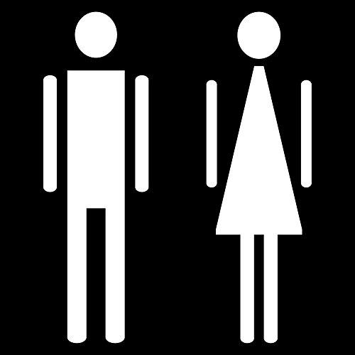 WC 00 Bad Toilette Mann Frau men women only Tür Hinweis Aufkleber die cut Tattoo Deko Folie (Mann Frau weiß) (Tattoo-lady Die)