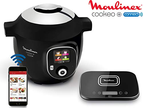 Moulinex CE856800 Multicuiseur Connecté avec Balance Cookeo + Connect Grameez 6L 150 recettes préprogrammées Noir