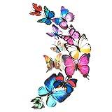 FORH 12 PCS 3D Schmetterlinge Wanddeko Aufkleber Abziehbilder Wand Aufkleber Hauptdekorationen Wandtattoo Schmetterlings Regenbogen Wand-dekor Kinder Baby Schlafzimmer Deko (Bunt)