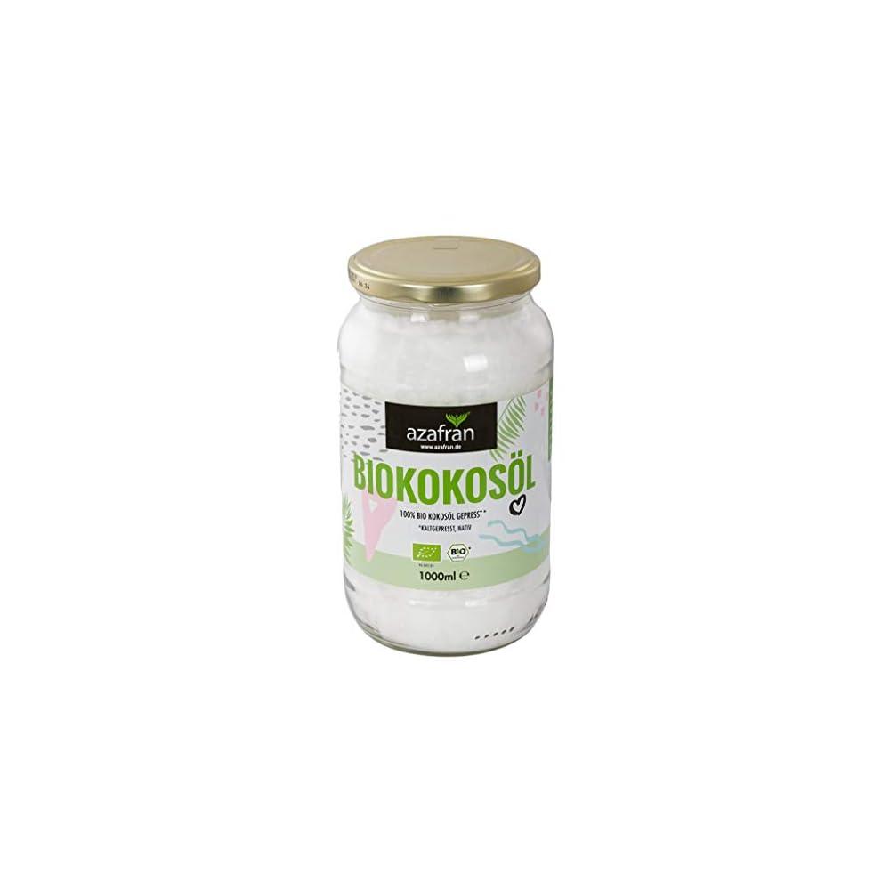 Azafran Bio Kokosl Kokosnussl Kokosfett Nativ Kaltgepresst Im Glas 1l