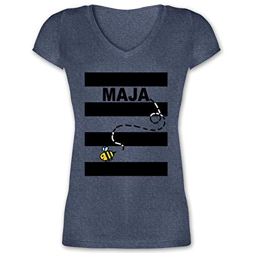 Karneval & Fasching - Bienen Kostüm Maja - S - Dunkelblau meliert - XO1525 - Damen T-Shirt mit ()