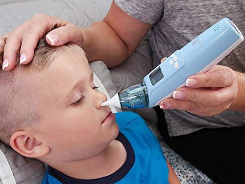 DEYACE Baby Nasensauger, Elektrischer Nasenreiniger mit LCD - Bildschirm und Licht sicher hygienisch für Neugeborene und Kleinkinder - 3 Stufen | 2 Größen Silikonspitzen | Farbiges Licht | Musik (Blue) - 9