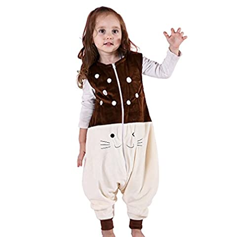 MICHLEY Baby Schläfer Flanell Tragbar Decke, Leicht Baby Mädchen ärmel Schläfer Mit Füße 1-3T (Brown Kleid Jeans)