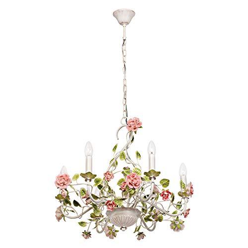 MW-Light 421013806 Kerzen Kronleuchter 6 Armig Florentiner Stil Weiße Rose Grün