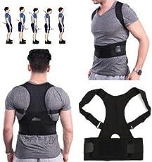 J Go Fully Adjustable Hunchbacked Posture Corrector Back Magnets Support Brace Shoulder Band Belt (L)