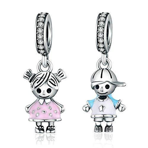 Coppia di charms con ciondolo a forma di neonato o neonata, in argento sterling 925, braccialetto fai da te, articolo scc544 e argento, colore: little boy, cod. 1