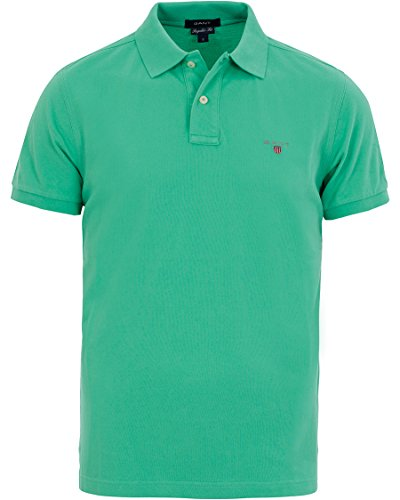 GANT Boys' Solid Short Sleeve Pique Polo Shirt - Spring Green - 5-6 (Polo-pullover Solid)