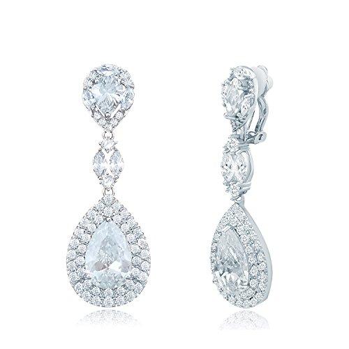 QUKE CZ Kristall Waterdrop Ohrclips Ohrhänger Ohrringe Baumeln Lange Tropfen Nicht Durchbohrte Hochzeit Ohrringe Für Damen