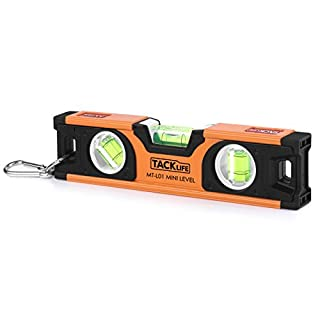 Spirit Level, Tacklife MT-L01 Magnetic Level 200 mm with 3 Multifunctional Leveling Bubbles, Portable Hanger and Lightweight Size (Durability with Accuracy 0.5mm/m)