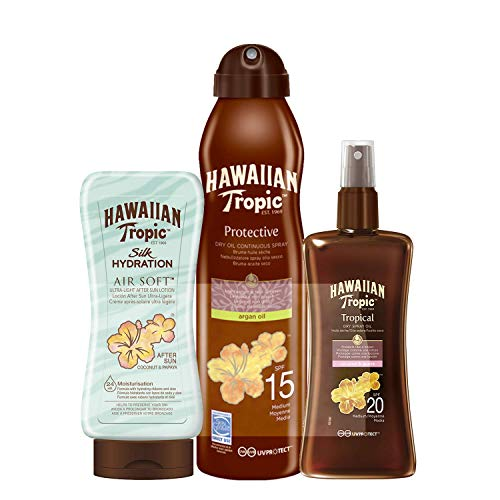 Hawaiian Tropic - Oil Sonnenöl Continuous Spray LSF 15, 180 ml + Oil Sonnenöl Spray LSF 20, 200 ml + Silk Hydration Air Soft After Sun Lotion 180 ml