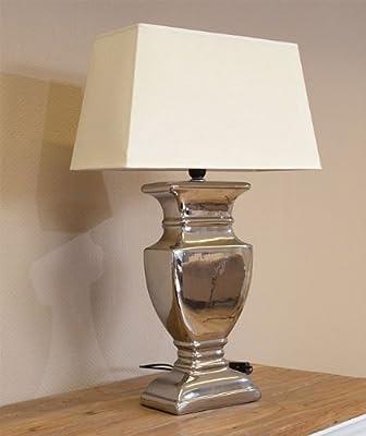 Tischlampe Tisch-Lampe Tischleuchte 52 cm Schirm beige / silber Shabby Landhaus