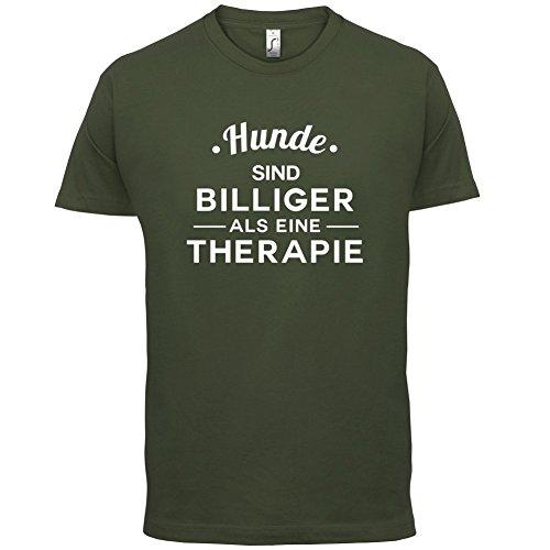 Hunde ist billiger als eine Therapie - Herren T-Shirt - 13 Farben Olivgrün