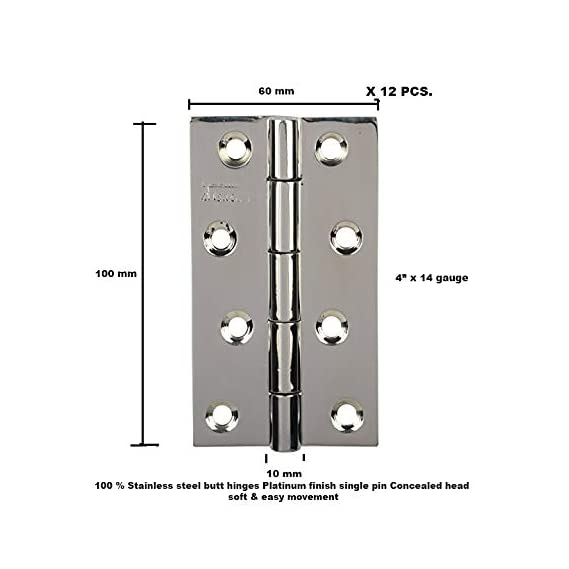 Door Hinges Stainless Steel Platinum Soft & Easy Movement Concealed Heads Single pin Lifetime Durability SSiSKCON (Platinum Glossy Finish, 4 x 14 Gauge 1.9mm Thickness, 12 pcs)