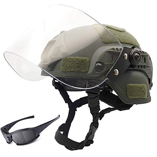 YOROOW-OUTDOOR Tactical Fast Helm Mit Transparenter Riot Protection Maske Und 4-Farbiger Windschutzbrille, Für Airsoft Paintball CQB Shooting SWAT Cosplay Motorrad PJ Combat CS Game Protection,Green -