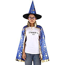 Niños Disfraces de Halloween Bruja Mago Capa con Sombrero Cosplay Props Shinng Estrellas Patrón Mágico Dress Up Set(Blue)