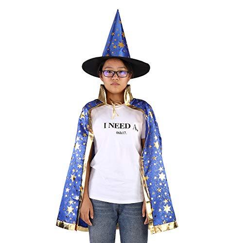 Muster Kostüm Kinder Hexe - Duokon Zauberer Mantel Hut Set Shinng Sterne Muster Kinder Hexe Kostüm für Kinder Jungen Mädchen Halloween Cosplay(Blau)