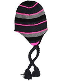 Ladies Grey, Black & Pink Striped Peruvian Hat A787