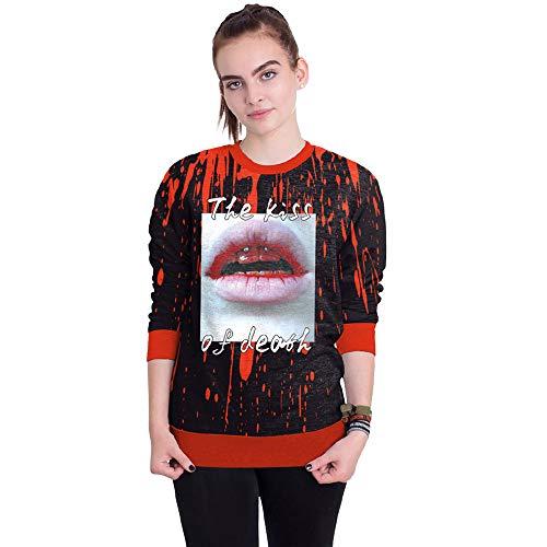 Luckycat Frauen Halloween Blut 3D Druck Langarm Hoodie Sweatshirt Pullover Top Mode 2018
