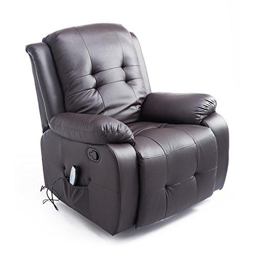 Homcom Massagesessel mit Wärmefunktion Fernsehsessel Relaxsessel TV Sessel mit Liegefunktion (Kunstleder Braun)