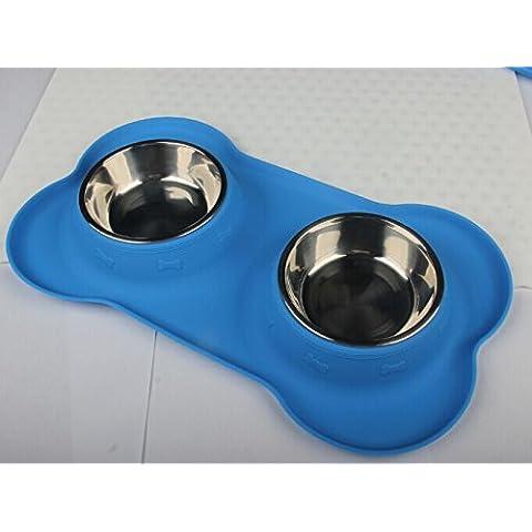 WEILI tazón para mascotas de acero inoxidable con ningún derrame del silicón antideslizante mat perros y gatos tazones dobles , blue
