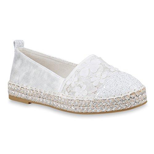 Damen Schuhe Espadrilles Bast Plateau Slippers Plateauschuhe Slip Ons 155574 Weiss 37 Flandell z8b4oW9