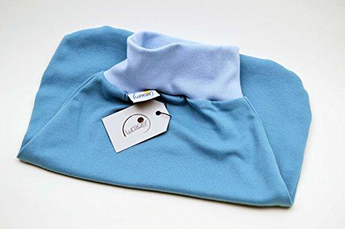 Strampelsack aus Bio-Baumwolle, Schlafsack zum Pucken, Babys und Kinder, 62 68, für Bett Kinderwagen, blau hellblau, Mädchen Jungen