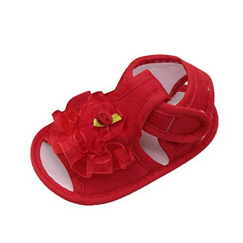feiXIANG Neugeborenes Schuhe Kinder Anti-Rutsch-Sneakers Krippeschuhe mit Weicher Sohle Baby Mädchen Blume Sandalen (Rot,6-12 Monat=12)