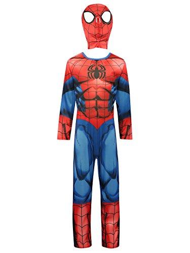 Marvel Kinder Superhero Spiderman Charakter voller Länge Anzug verkleiden Kostüm mit Maske Gr. M-5-7 Jahre, rot