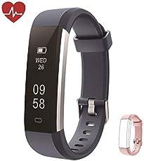 Kingsky Fitness Armband mit herzfrequenz Fitness Tracker mit Pulsmesser Wasserdicht IP67 Aktivitätstracker Pulsuhren Bluetooth Smart Armbanduhr Schrittzähler Damen