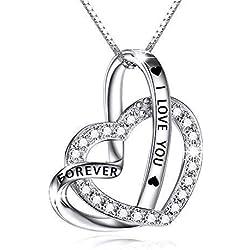 Bijoux Femme Collier en argent sterling 925 pendentif Femme Chaîne Femme 18 Pouces Coffret Cadeau I love you forever