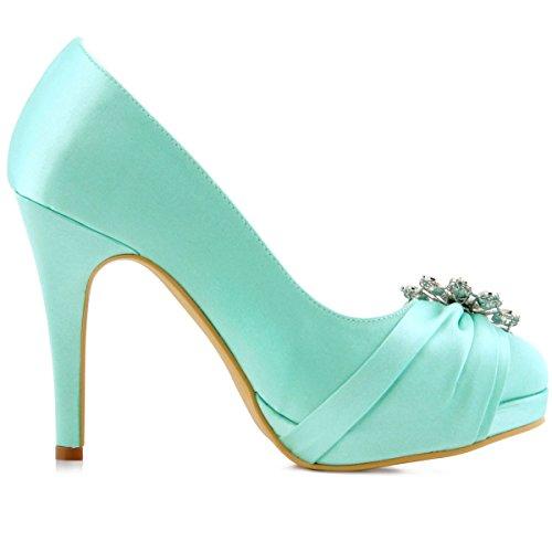 ElegantPark EP2015-PF Satin Plateforme Aiguille Talon Pumps Bout Ferme Fleurs Strass Diamant Boucles Chaussures Escarpins de Mariee Bal Menthe