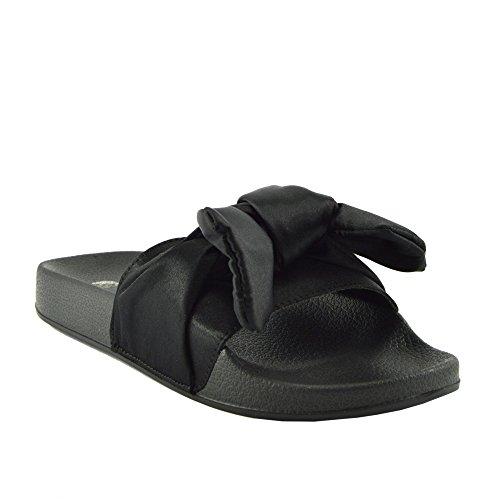 Womens Fashion Damen Licht Flip-Flops Bequemen Slip auf Sommer-Strand-Sandalen Black Satin