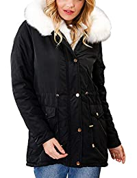 82301be5ff Lily Lulu Fashion Woman's Coat White Faux Fur Trim Hooded Parka Coat Black