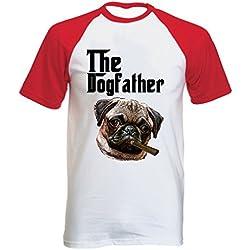 Teesquare1st PUG DOGFATHER 1 Tshirt con manga corta roja T-shirt Size XLarge