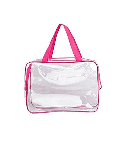 Kanggest 1Pcs Sac de Voyage en PVC Transparent Étanche Multifonction Sacs Cosmetiques/Trousse de Toilette/Trousses à Maquillage pour Voyage (Rose )