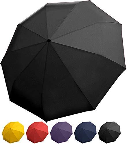 Rain Guard Winddicht Regenschirm, Kompakt Auto öffnen/schließen, Dupont teflonbeschichteten & leicht, schwarz - Schwarze Abgerundete Metall-rahmen